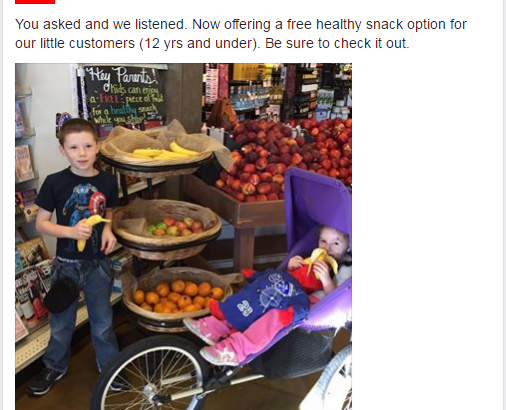 From Nob Hill Martinez' Facebook page. Sign reads: Hey Parents! Kids can enjoy a FREE piece of fruit for a healthy snack while you shop!